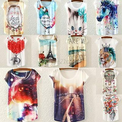 Ladies Womens Short Sleeve Loose Casual Animal/floral Print T-shirt Tops Blouse