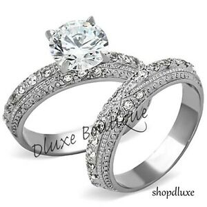 3-25-CT-ROUND-CUT-CZ-STAINLESS-STEEL-VINTAGE-WEDDING-RING-SET-WOMEN-039-S-SIZE-5-10
