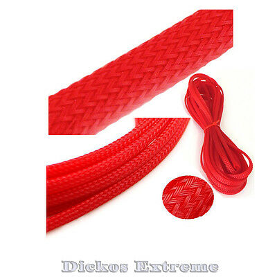 RED PET Expandable Braided Cable Sleeving (12mm) --  1 meter length.