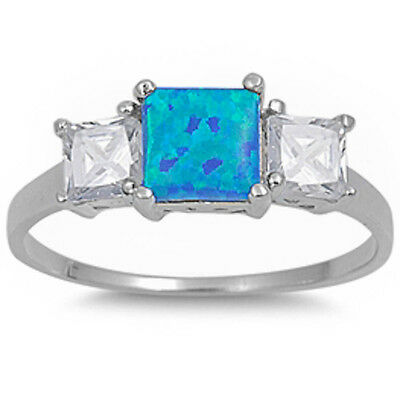 NEW ELEGANT BLUE AUSTRALIAN FIRE OPAL & CZ .925 Sterling Silver Ring Sizes 5-10