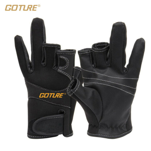 GoTure Anti Slip Fishing Gloves 3 Three Low Cut Fingers Water-Proof Outdoor fish
