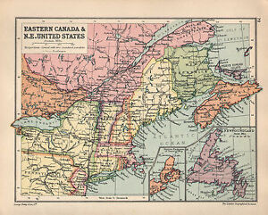 Details about 1934 MAP ~ EASTERN CANADA NORTH EASTERN UNITED STATES MAINE  NEW YORK NOVA SCOITA
