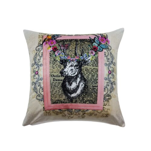 """FILLED MODERN BRIGHT STAG DEER BUTTERFLY SOFT VELVET SILVER PINK CUSHION 17/"""""""