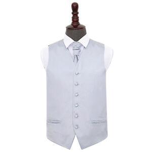 DQT-Satin-Plain-Solid-Silver-Mens-Wedding-Waistcoat-amp-Cravat-Set