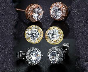 Silver-made-with-Swarovski-Crystals-10mm-Round-Halo-Stud-Earrings