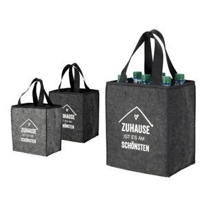 Zuhause-Bottle-Bag-6er-Flaschentasche-fuer-6-Flaschen-Flaschentraeger-in-grau