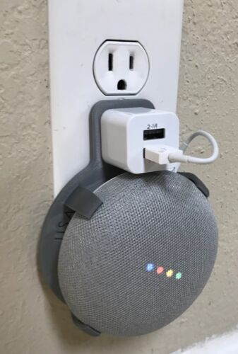 Dual USB Port PLUG-IN Wall Mount for Google Home Mini (Gray/Chalk)