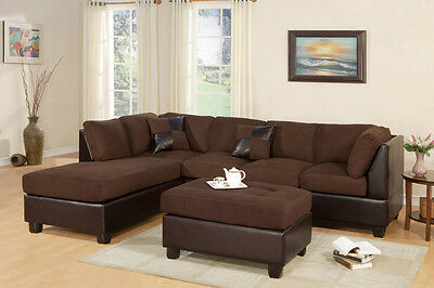 5pc Modern Sectional Sofa W/ Ottoman & Pillows Living Room Microfiber Chocolate