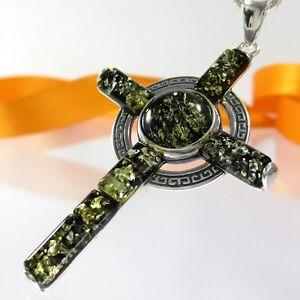 A-024-XL-Kreuz-Anhaenger-925-Silber-Schmuck-Maeander-Ornament-Bernstein-Amber-Gruen