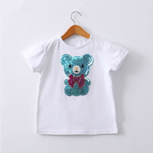 Girls Sequins White T-shirts Top Short Sleeves Blue//Pink Teddy Bear 7-12Y