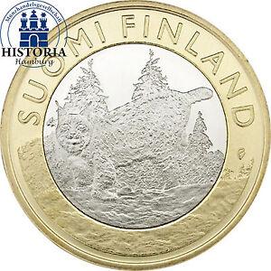 Finnland 5 Euro Münze Luchs 2015 Bankfrisch Das Tier Der Provinz