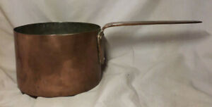 ANTIQUE-COPPER-HAND-FORGED-LONG-HANDLE-COOKING-POT-SAUCEPAN-8-5-034-Dia-5-75Lbs