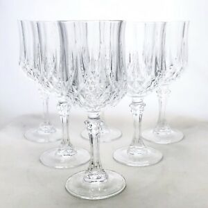 Set-Of-6-Longchamp-By-Cristal-D-Arques-Durand-Lead-Hand-Cut-Crystal-Wine-Glasses