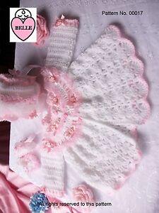 BEAUTIFUL-Baby-coat-bonnet-booties-crochet-pattern-DK-wool-Matinee-set-Romany