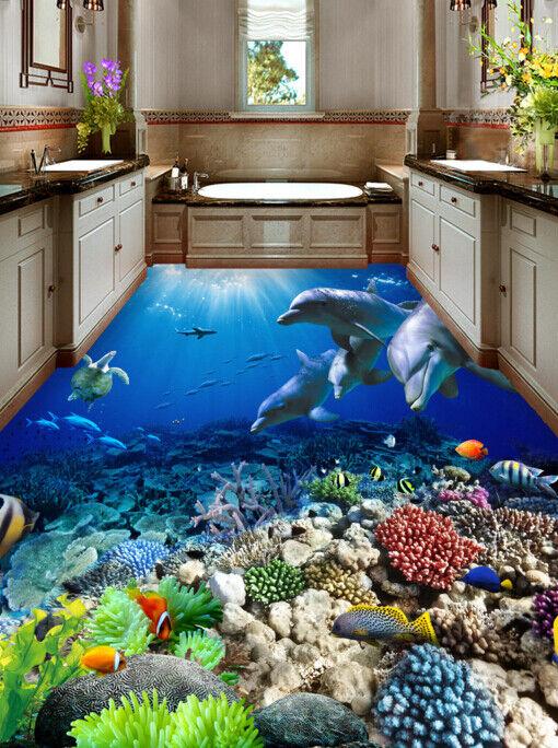 3D Corals Dolphins 65 Floor WallPaper Murals Wall Print 5D AJ WALLPAPER UK Lemon