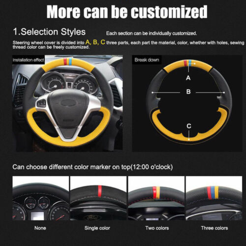 Custom PU Leather Steering Wheel Cover Stitch on Wrap For Mitsubishi Lancer-ex