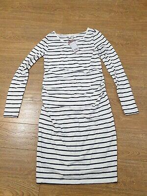 Zalando Womens Cotton White Blue Stripe Maternity Jersey Dress Uk Medium #box 17