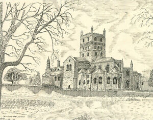 N.K. Day - 2003 Pen and Ink Drawing, Tewkesbury Abbey