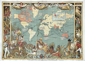 MP11-Vintage-Old-1886-British-Empire-Map-Of-The-World-Poster-Re-Print-A1-A2-A3