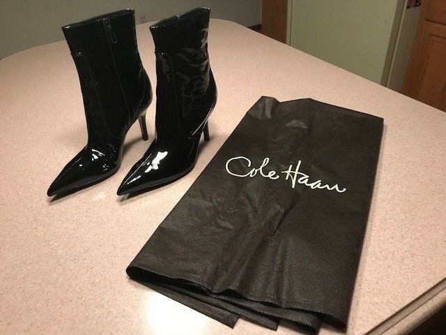 Cole Haan Black Patent Patent Patent Leather Fiona Air Short Boots Size 9.5 Orig  395 D24835 256fa0