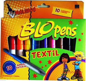 10-Textil-Blopens-Textilstifte-fuer-T-Shirts-Stoffmalfarbe-Bigbox-8-Schablonen
