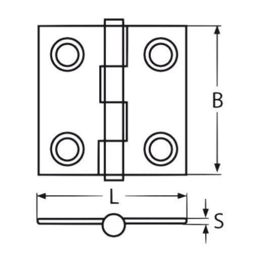 2x Heavy Duty  Marine Grade 316 Stainless Steel Heavy Duty Butt Hinge 38 mm