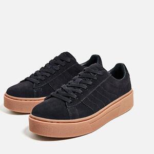 Zara Chunky Sole Black Leather Platform Sneaker Shoe Sz 6 5 37 Ebay