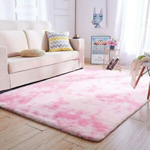 Soft-Fluffy-Modern-Area-Multi-Pink-Rug-4-039-x6-039-Indoor-Plush-Shaggy-Home-Dorm-Rug