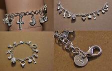 Bettelarmband Armband Charms Anhänger  Silber plattiert versilbert verstellbar