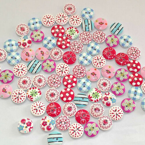 LX/_ 100PCS FLOWER GRID MIXED PATTERN WOODEN BUTTONS DIY SEWING SCRAPBOOKING CL