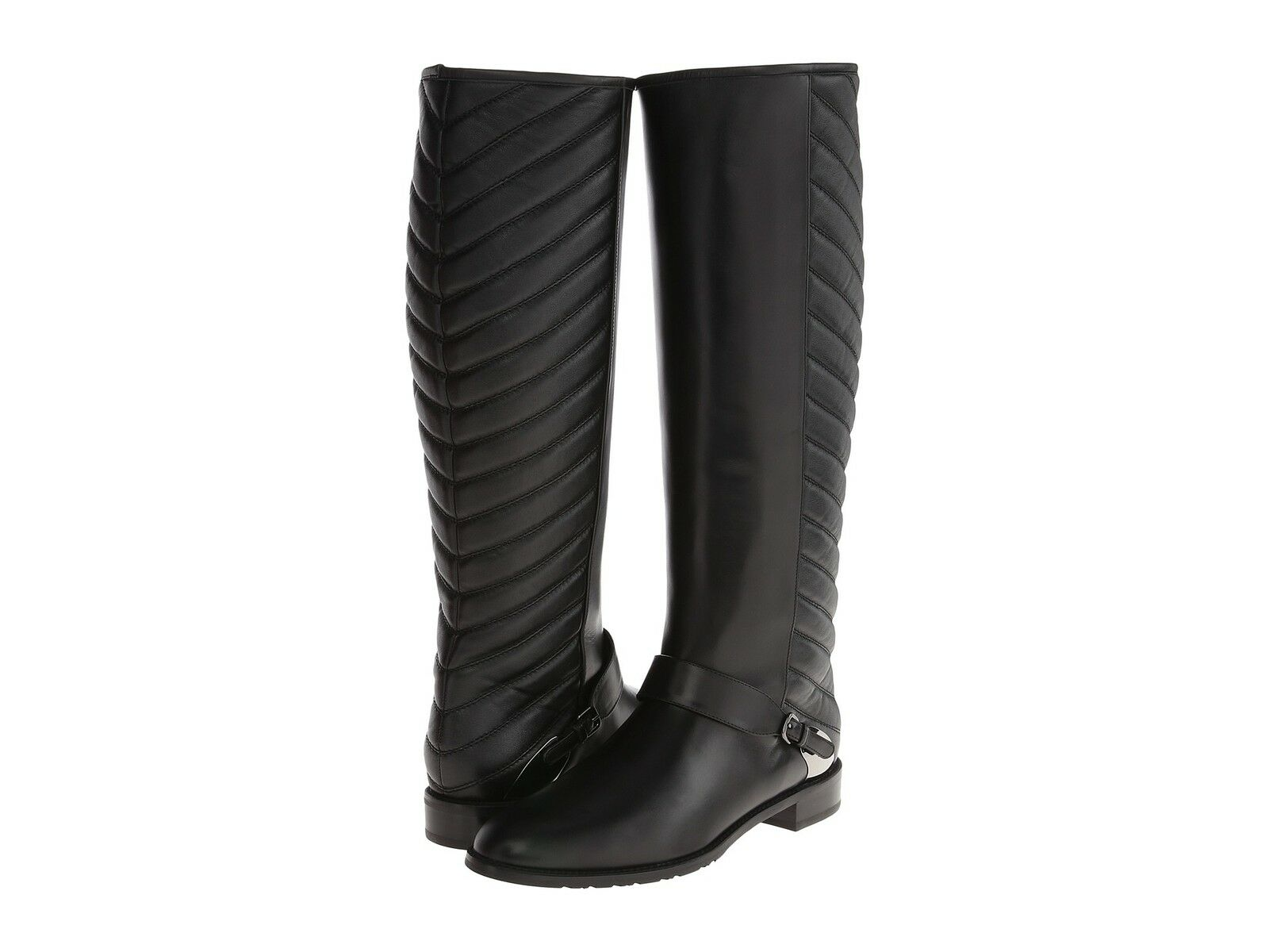 695 Stuart Weitzman Raceway Tall Knee Black Quilted Riding Flat Boots 6 Bootie