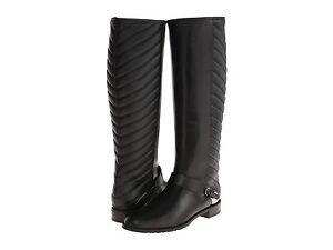 44ea78d5849 Details about $695 Stuart Weitzman Raceway Tall Knee Black Quilted Riding  Flat Boots 6 Bootie