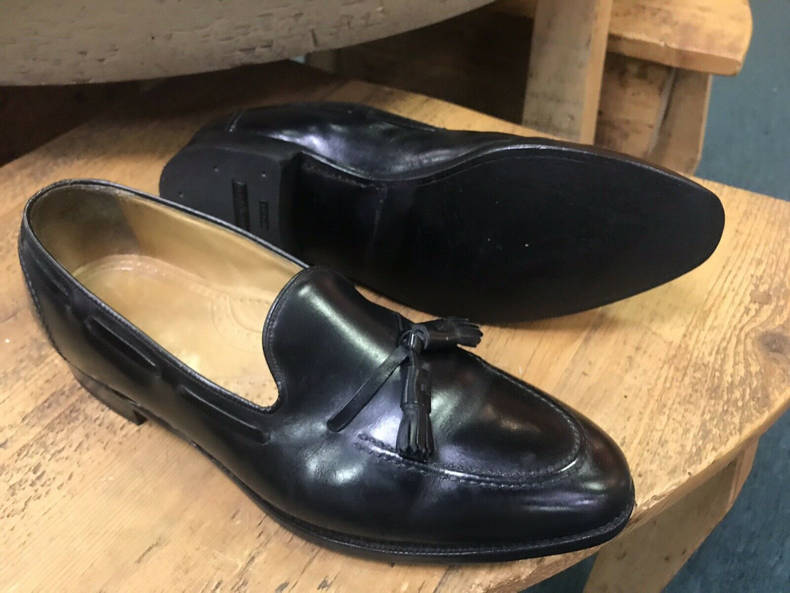 Johnston and Murphy Aristocraft Black Leather Tassel Slip On Loafer Mens 12 C/A