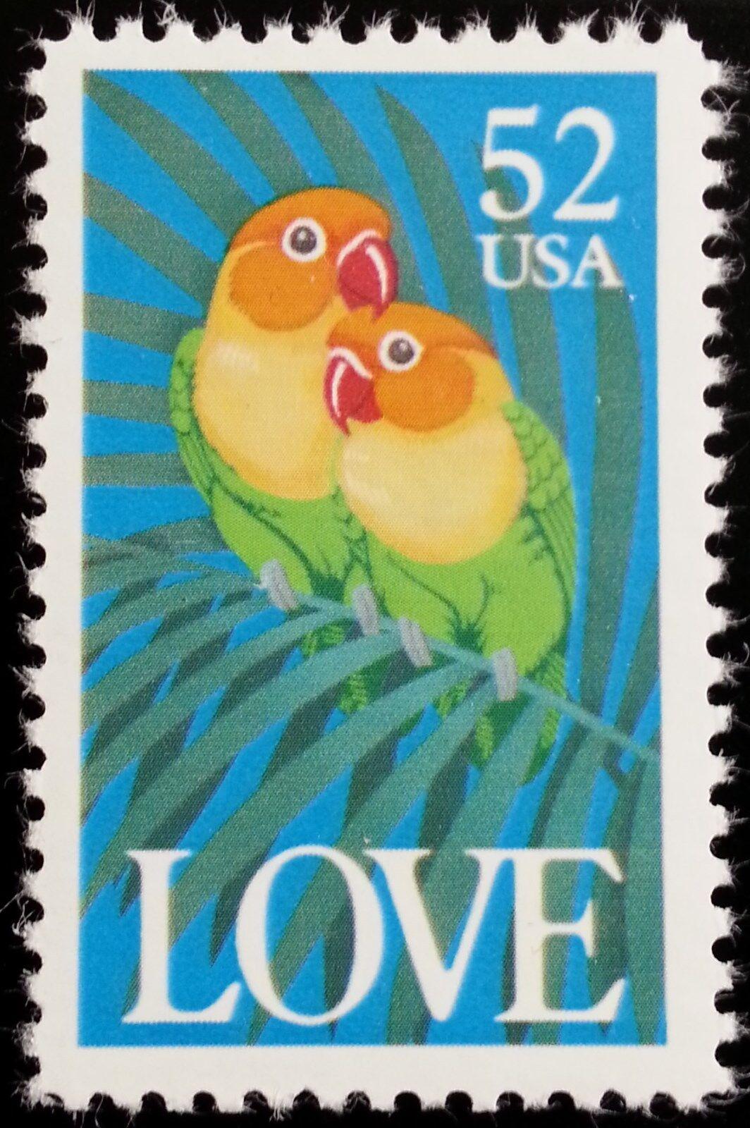 1991 52c Love, Colorful Parrots Scott 2537 Mint F/VF NH