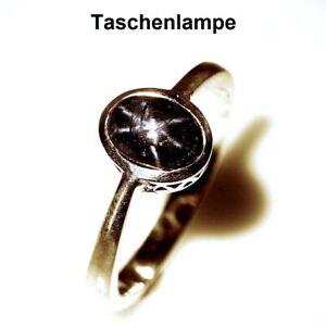 TOP-6-RAY-STAR-SAPHIRE-RING-Natuerliche-Stern-Saphir-Ring-Gr-18-Silber-R318