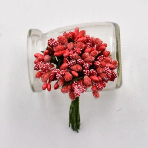 12PCS Artificial Berries Flower Bouquet DIY Design Crafted Fake Flowers Decor