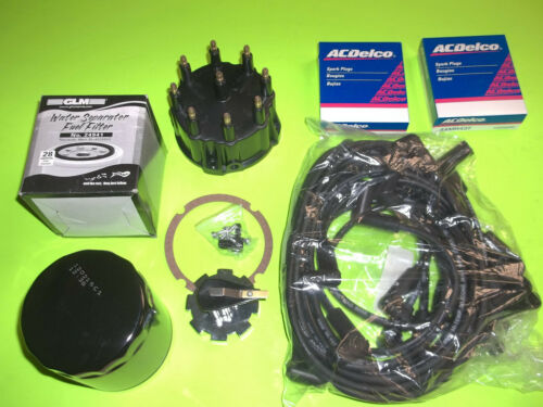 TUNE UP KIT WIRES CAP ROTOR spark PLUGS OIL /& FUEL FILTER mercruiser 5.0 5.7 7.4