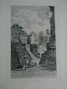 Vieux-Paris-superbe-eau-forte-XIXeme-Rue-Rollin-A-Taiee-gravure-signee