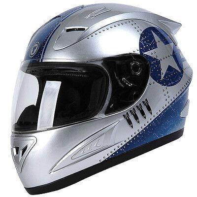 Torc T10 Prodigy Silver Fighter V2 Full Face Motorcycle Helmet