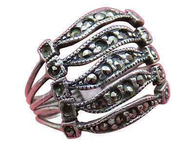 Judith Jack Sterling Silver Band Ring Wide Marcasite Size 8 Designer 807g