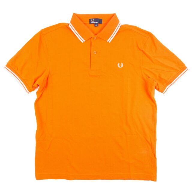 Fred Perry Twin Tipped Pique Polo Shirt Orange Short Sleeve Cotton M1200 Men's M
