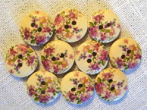 BOUTON BOIS ROND ** 15 mm ** Qté x6 ou x10 Fleurs Ton Rose Réf 15//015
