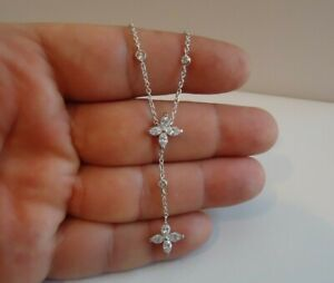 FLOWER-NECKLACE-W-LAB-MARQUISE-DIAMONDS-925-STERLING-SILVER-18-039-039-ADJUSTABLE