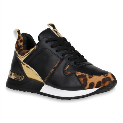 Damen Laufschuhe Sportschuhe Schnürer Leo Print Sneaker 832476 Schuhe