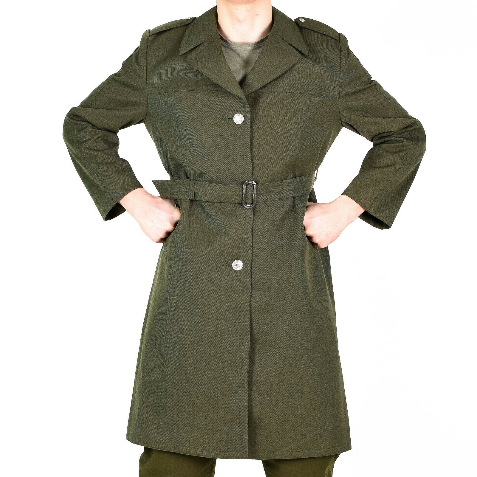 Genuine Czech army coat trenchcoat wool military issue long raincoat olive NEW