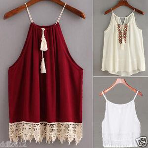 New-Women-Slim-Summer-Lace-Trimmed-Tasselled-Drawstring-Blouse-Tank-Tops-T-shirt