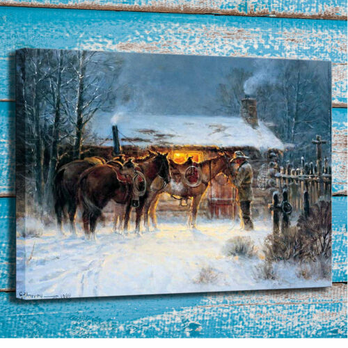 Art Hd Print Painting on Canvas Home Deco Wall Western Cowboy Horse Winter 12x16