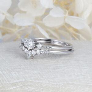 1-25-Ct-Diamond-Round-Wedding-Band-Set-14K-Hallmarked-White-Gold-Size-H-L-M-N