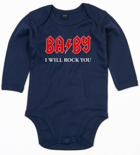 BABY I WILL ROCK YOU Langarm Body BIO-Baumwolle navy