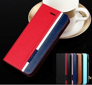 For-Apple-iPhone-Samsung-Ultra-Thin-Flip-Wallet-Case-PU-Leather-Red-Black-Blue-H